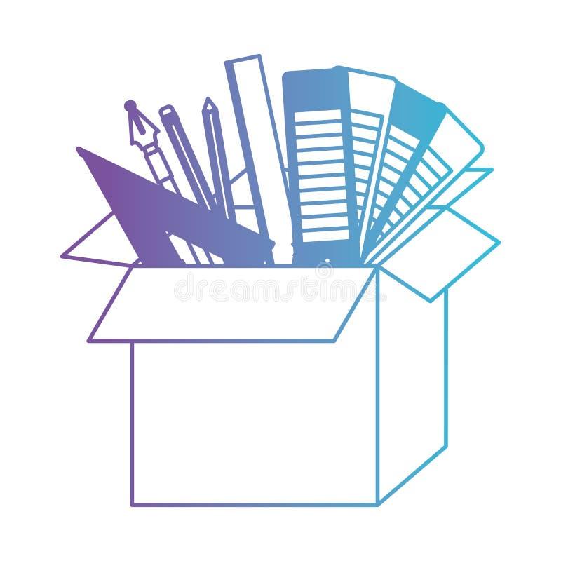 有图表设计工具的纸板箱在对蓝色等高的被贬低的紫色 皇族释放例证