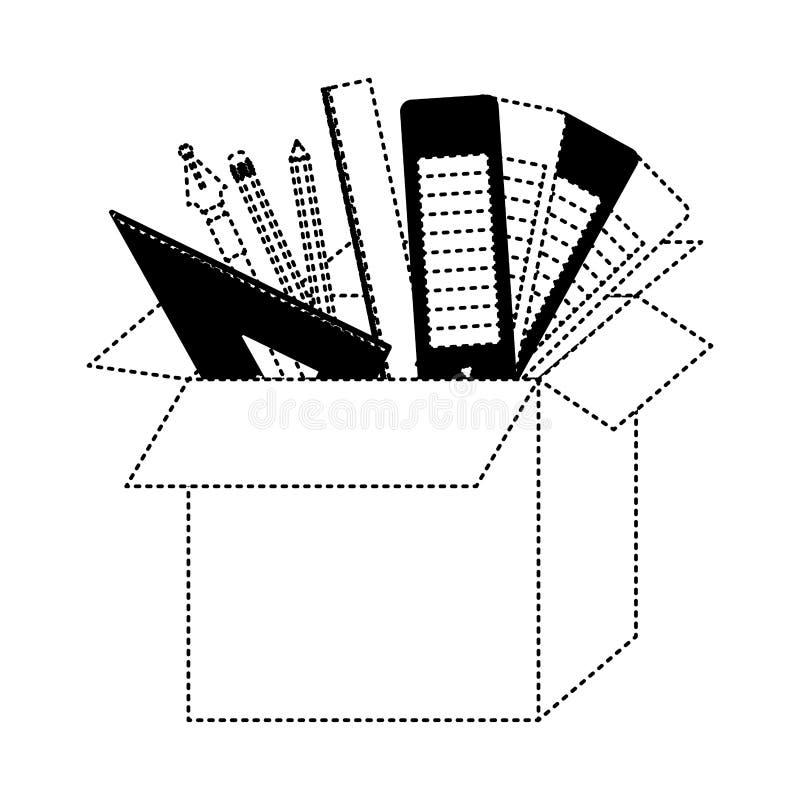 有图表设计工具的纸板箱在黑色加点了等高 皇族释放例证
