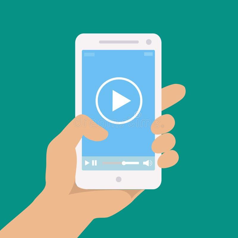 有图象播放机的手机在a的屏幕上 库存例证