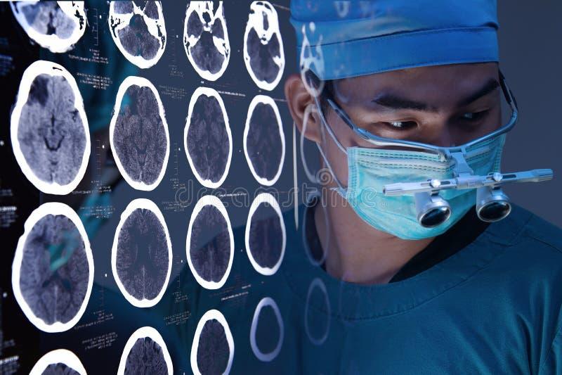 有图象的一间兽医手术运转中屋子从脑子的一种电脑断层摄影术 免版税库存照片