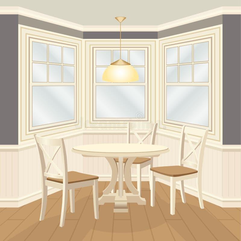 有圆桌和椅子凸出的三面窗的经典dinning的室 库存例证