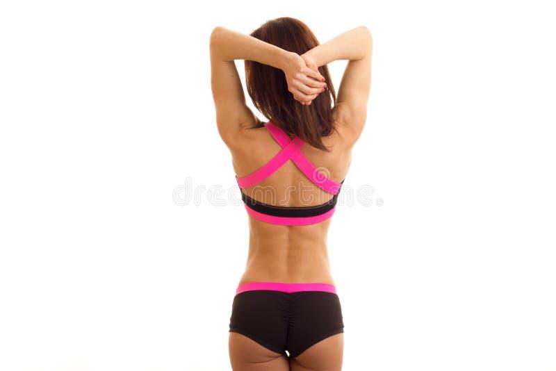 有圆的屁股的身体美丽体育女孩和瘦腰身 库存照片
