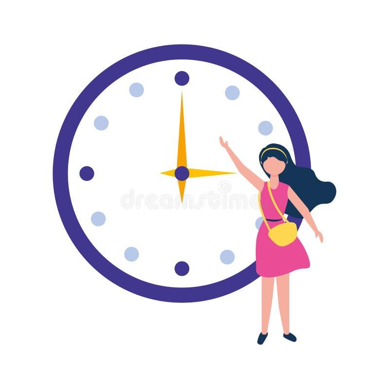 有圆的时钟时间的年轻女人 向量例证