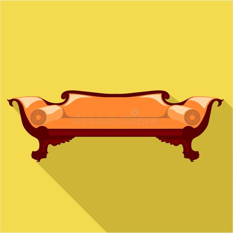 有圆的枕头的数字式传染媒介橙色沙发 向量例证