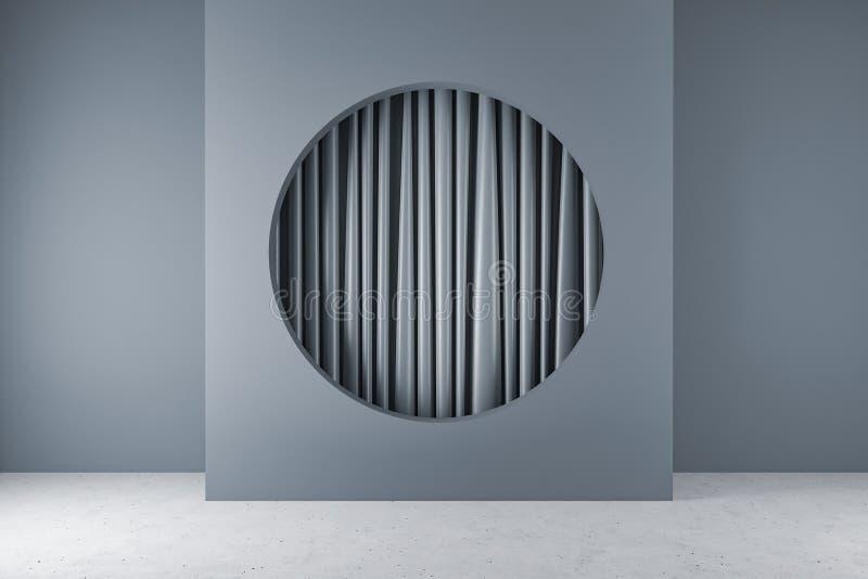 有圆的适当位置和帷幕的灰色室 库存例证
