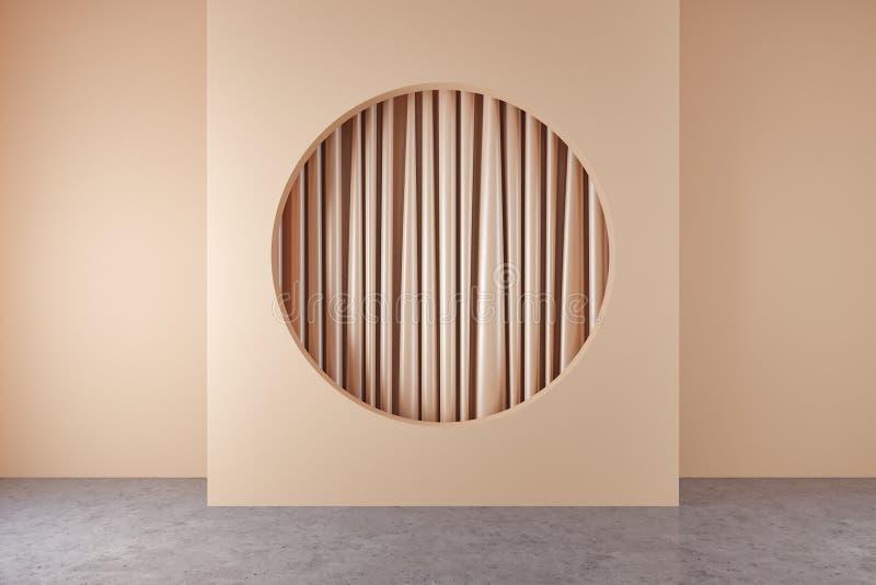 有圆的适当位置和帷幕的米黄室 向量例证