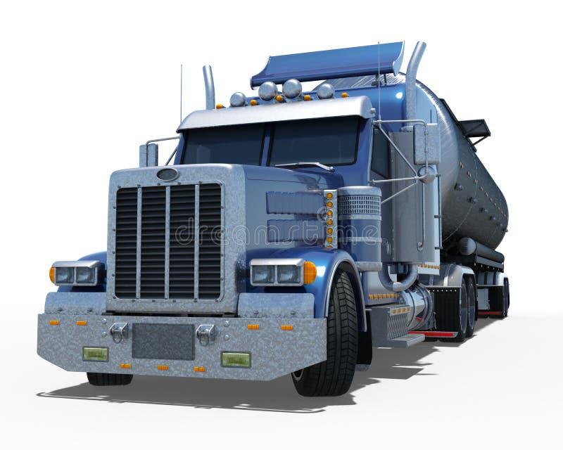 有圆的部分金属坦克的蓝色拖车 库存例证