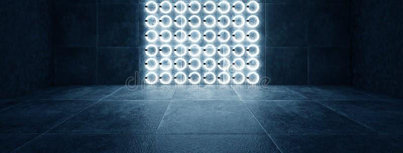 有圆的霓虹灯和反射的未来派黑暗的隧道 皇族释放例证