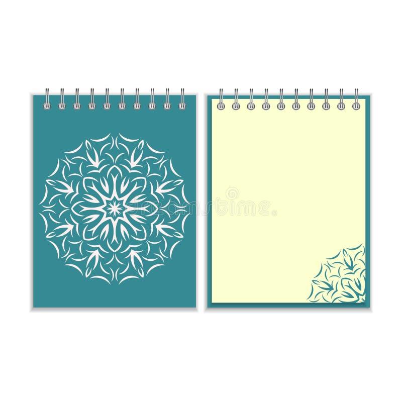 有圆的florwer样式的蓝色盖子笔记本 向量例证