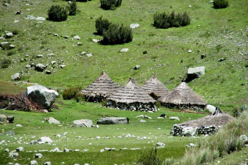 有圆锥形秸杆屋顶的传统盖丘亚族人的村庄房子 免版税库存照片