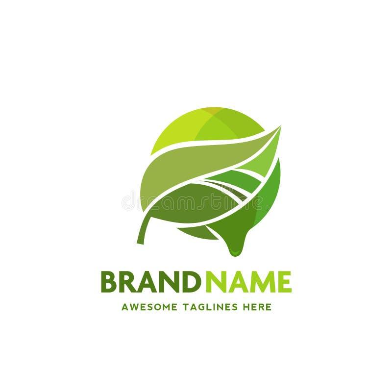 有圈子融解背景商标的绿色叶子 皇族释放例证
