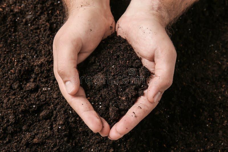 有土壤的男性手 库存照片