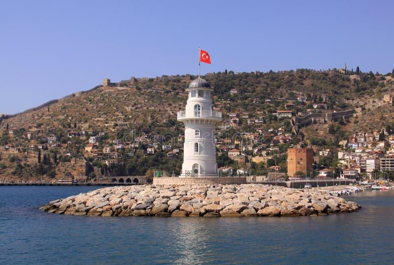 有土耳其旗子的灯塔 免版税库存图片