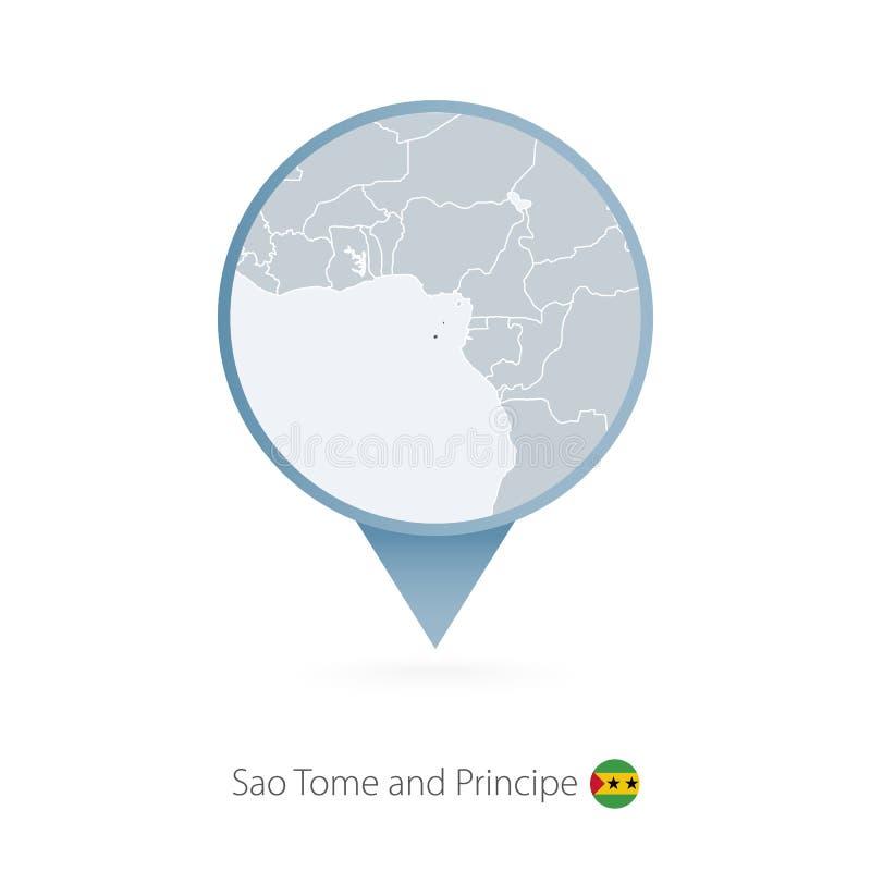 有圣多美和普林西比和邻国详细的地图的地图别针  库存例证