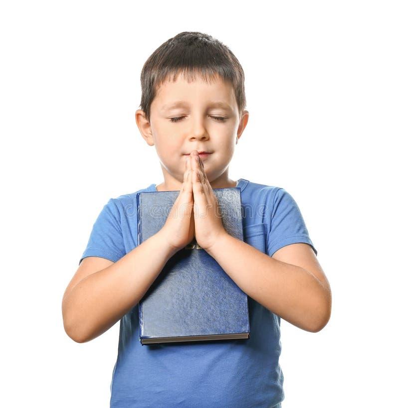 有圣经的小男孩祈祷在白色背景的 免版税库存照片
