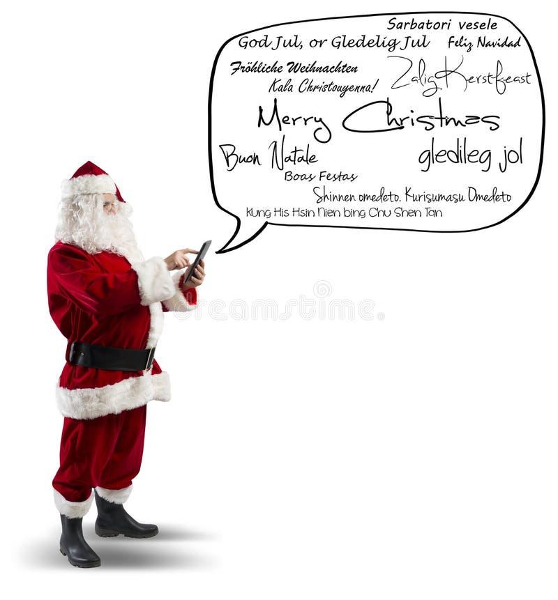 有圣诞快乐消息的圣诞老人 库存图片
