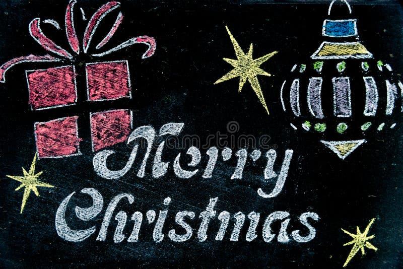 有圣诞快乐消息的葡萄酒黑板 皇族释放例证