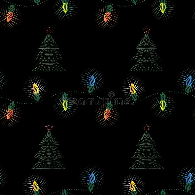 有圣诞树无缝的样式的圣诞节电诗歌选 新年印刷品 皇族释放例证