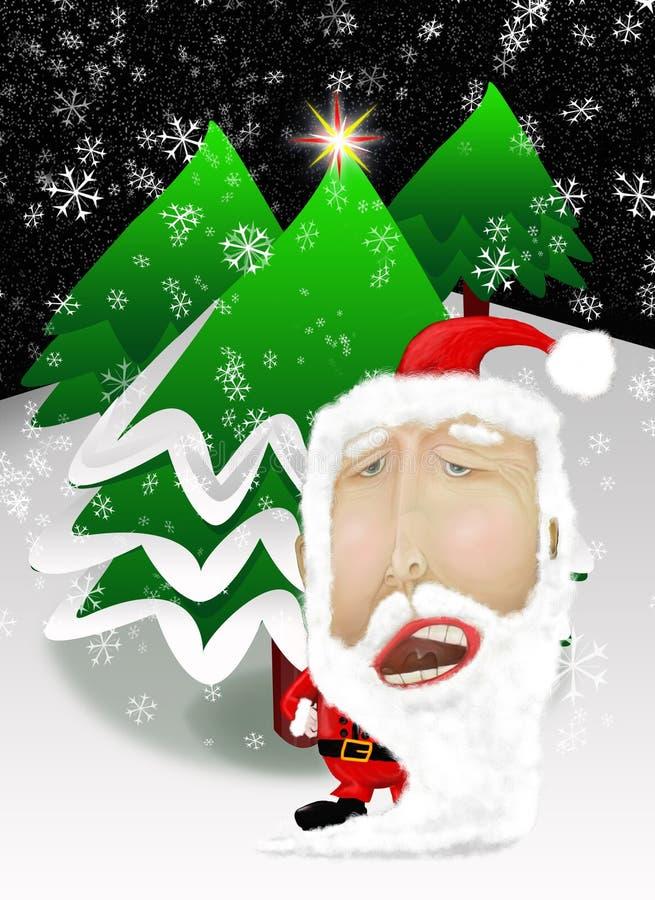 有圣诞树的圣诞老人 向量例证