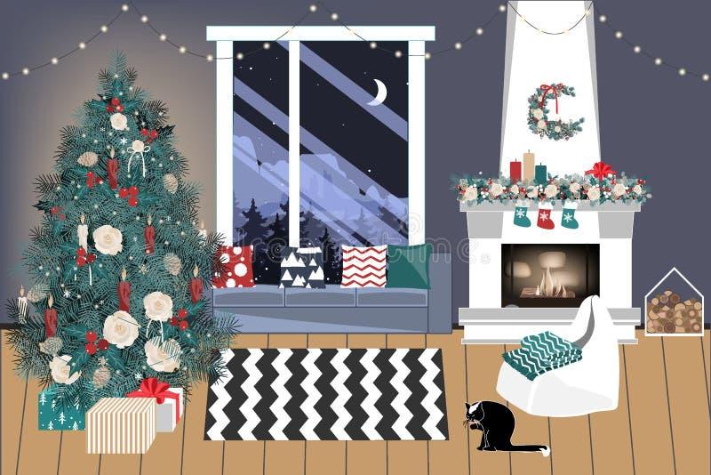 有圣诞树的圣诞节客厅和礼物在它下-现代斯堪的纳维亚样式,传染媒介例证 库存例证