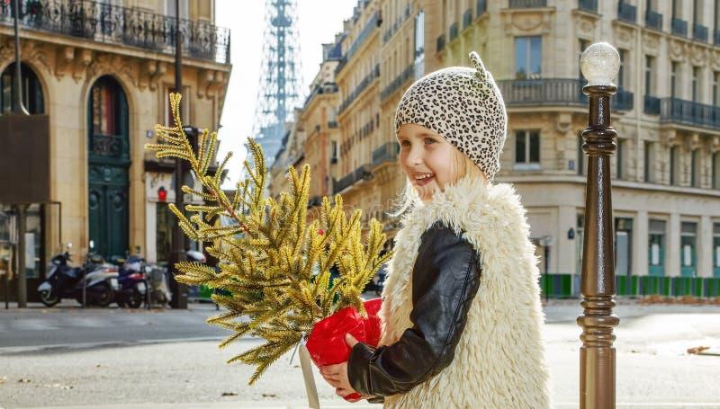 有圣诞树的微笑的女孩在巴黎,法国横穿路 免版税库存图片