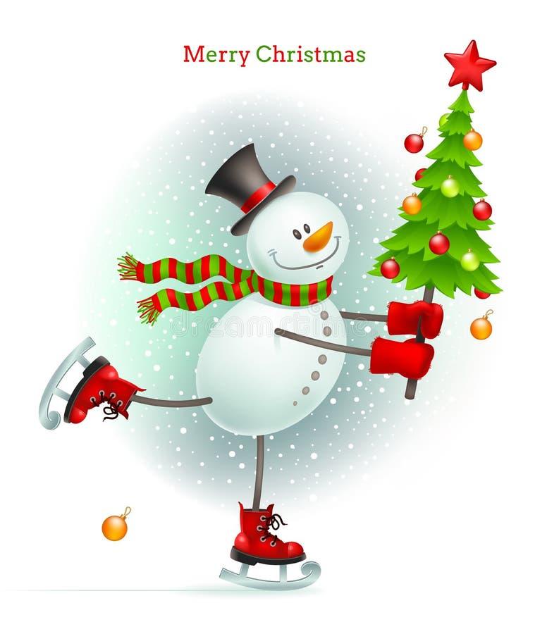 有圣诞树的微笑的雪人 库存例证