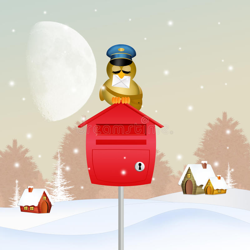 有圣诞老人信件的鸟邮差  库存例证