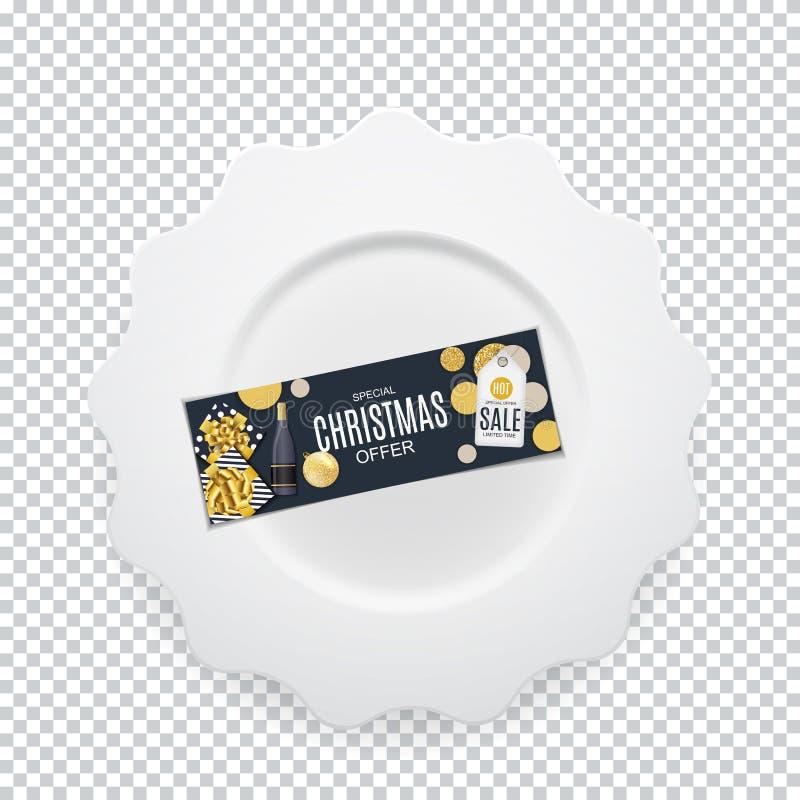 有圣诞节礼品券的白色圆的板材在您的设计的透明背景 也corel凹道例证向量 向量例证