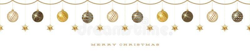 有圣诞节装饰的-与金黄星的被仿造的中看不中用的物品无缝的带状装饰 皇族释放例证
