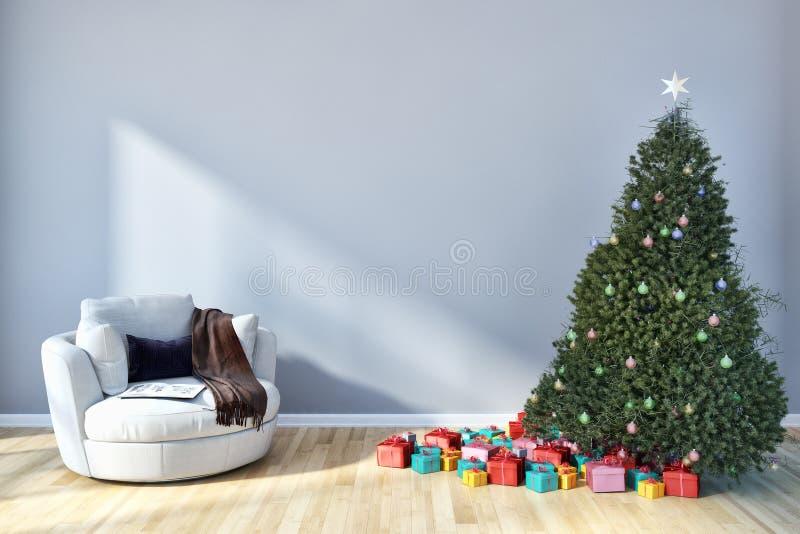 有圣诞节tre的现代明亮的内部公寓客厅 向量例证