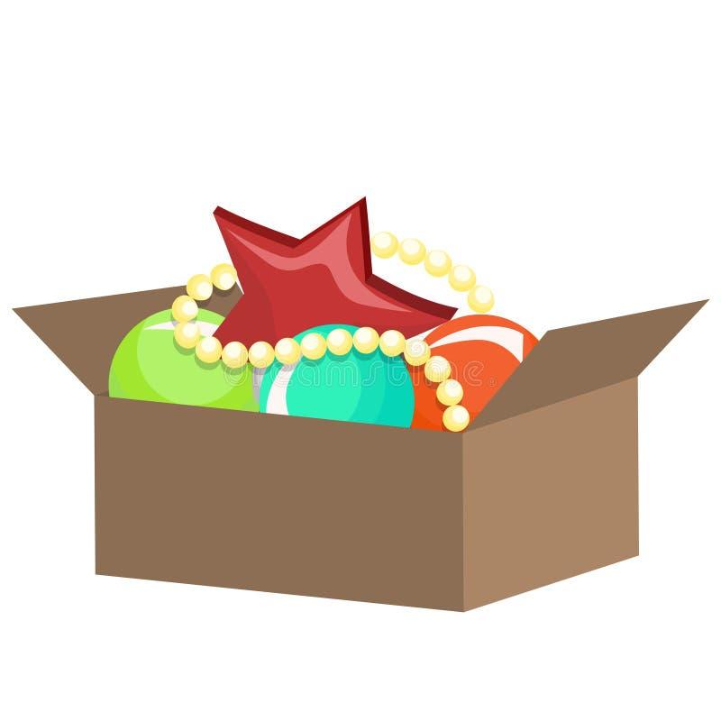 有圣诞装饰的箱子 : 库存例证