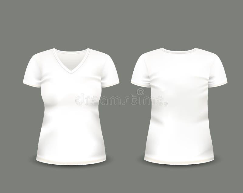有在前面和后面看法的妇女的白色V脖子T恤杉短小袖子 边界月桂树离开橡木丝带模板向量 充分地编辑可能的手工制造滤网 库存例证