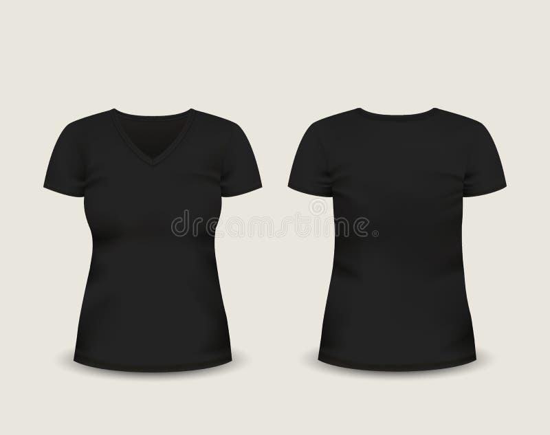 有在前面和后面看法的妇女的黑V脖子T恤杉短小袖子 边界月桂树离开橡木丝带模板向量 充分地编辑可能的手工制造滤网 库存例证