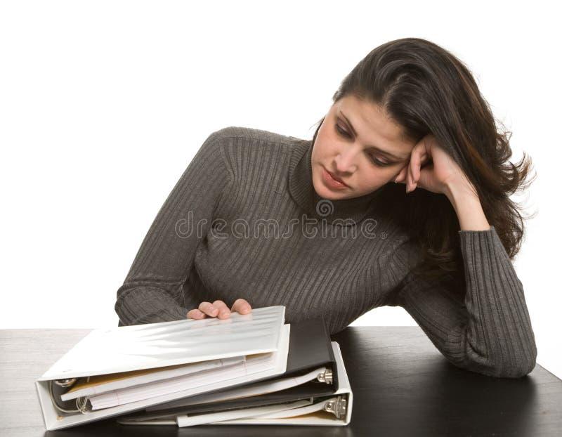 有笔记本的妇女 免版税库存图片