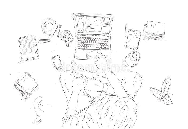 有在家膝上型计算机的人,坐地板 手拉的等高例证,年轻在白色背景的人顶视图 库存例证