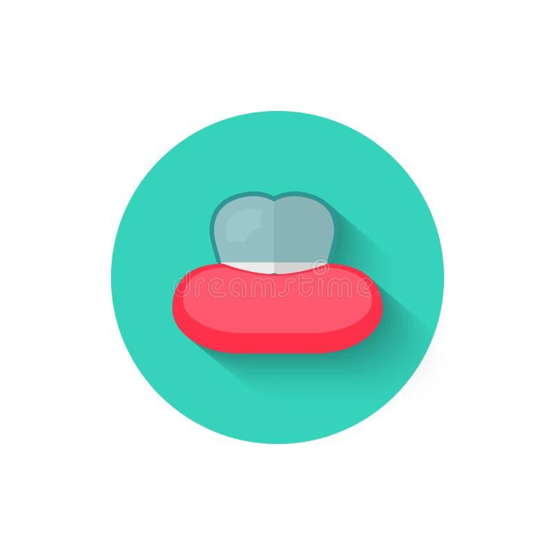 有在平的设计样式传染媒介例证隔绝的括号象的牙 在口腔医学题材的现代象  库存例证