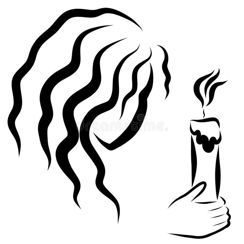 有在手中一个灼烧的蜡烛的女孩 皇族释放例证