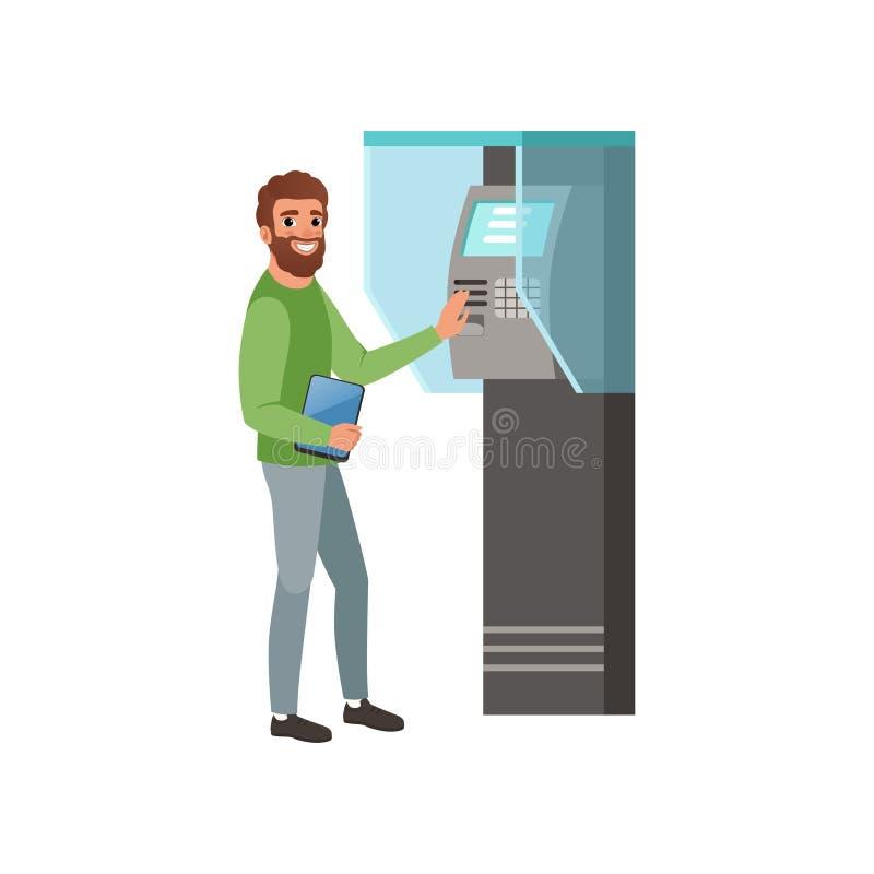 有在手中得到金钱的数字式片剂的有胡子的人从现钞机ATM 银行业务题材 平的传染媒介设计 皇族释放例证