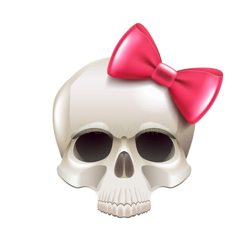 有在白色传染媒介隔绝的桃红色弓的女孩头骨 库存例证
