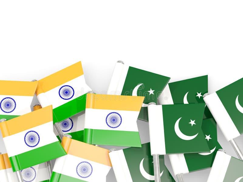 有在白色和巴基斯坦的隔绝的旗子的别针印度 库存例证