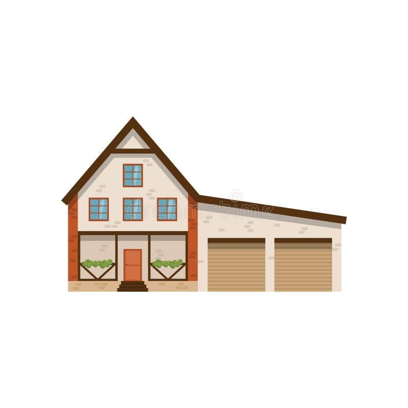 有在白色背景和两个车库的二层楼的房子隔绝的大阳台 向量例证