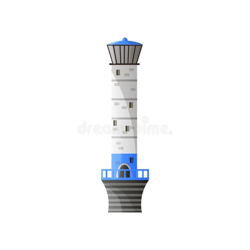 有在白色背景在平的设计隔绝的阴影的蓝色白色灯塔 皇族释放例证