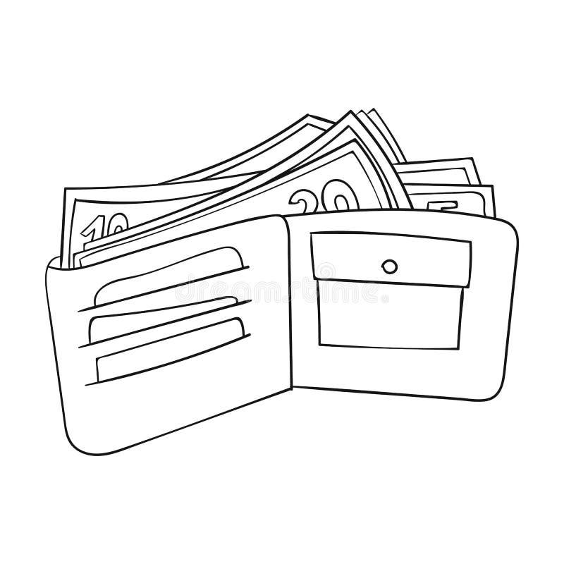 有在白色背景在概述样式隔绝的现金象的钱包 超级市场标志股票传染媒介例证 皇族释放例证