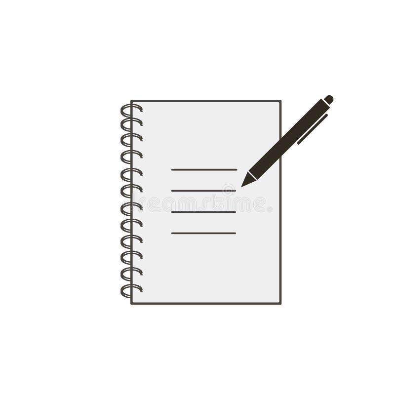 有在白色背景在简单的样式隔绝的笔象的笔记本 注意标志 向量例证