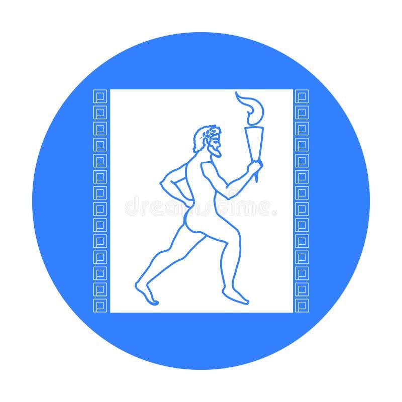 有在白色背景在黑样式隔绝的奥林匹克火象的运动员 希腊标志股票传染媒介例证 向量例证