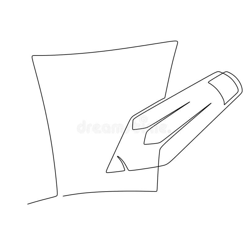 有在白色背景的一个实线画的铅笔的笔记本 向量例证