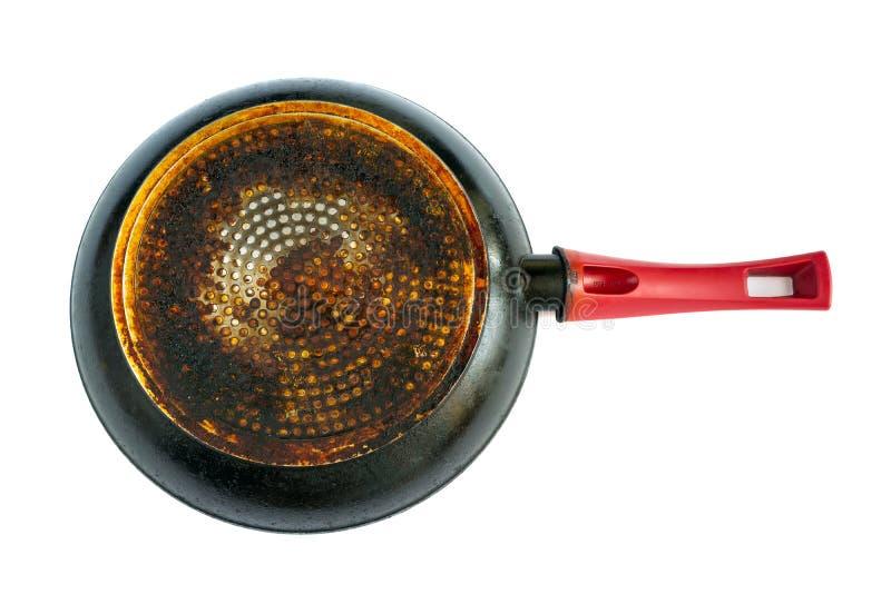 有在白色背景隔绝的一个肮脏,油腻底部的煎锅 免版税库存图片