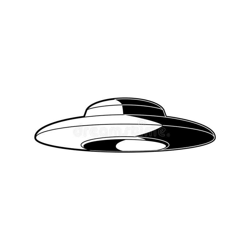 有在白色背景隔绝的地球外的访客的飞碟外籍人太空飞船 向量例证