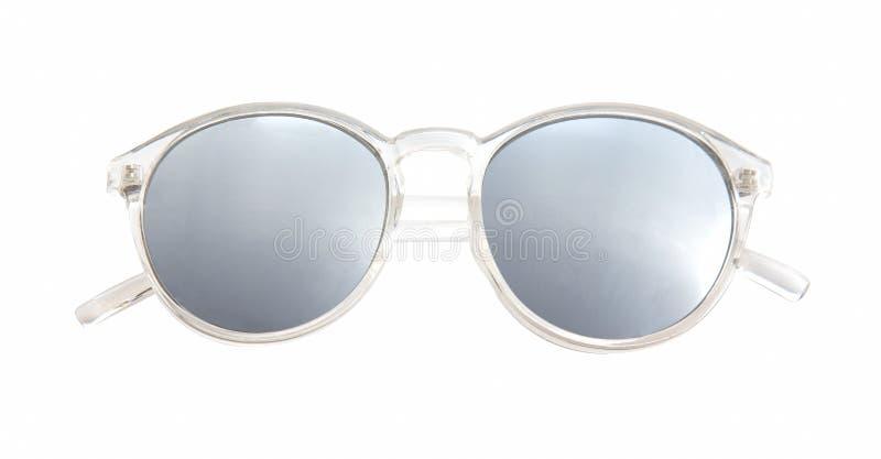 有在白色背景隔绝的多色镜子透镜的太阳镜 库存照片