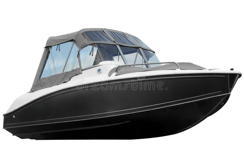有在白色背景隔绝的帆布上面的现代小船 免版税图库摄影